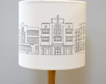 Deco Building Drum Lampshade - handmade lampshade - home decor - fabric shade - art deco shade - decor lighting - patterned shade