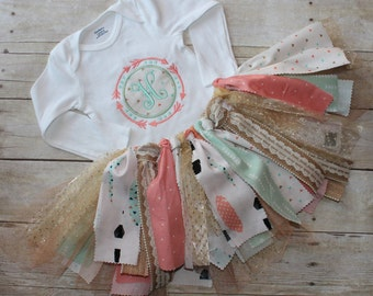 Mint and Pink Birthday Outfit feathers tribal arrows