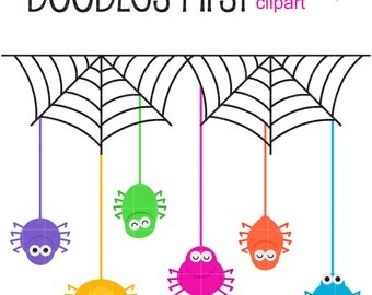 Cute Spiders Digital Clip Art for Scrapbooking Card Making Cupcake Toppers Paper Crafts