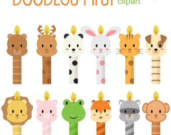 Baby Animal Candles Digital Clip Art for Scrapbooking Card Making Cupcake Toppers Paper Crafts