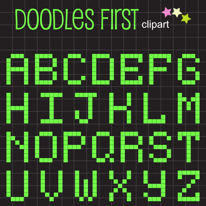 Fun Pixelate Font Digital Clip Art For Scrapbooking Card