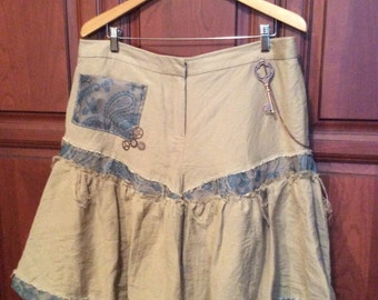 Steampunk Skirt, US size 16 - pieced, frayed edges, copper steampunk embellishments - Upcycled, Refashioned, one-of-a-kind cosplay