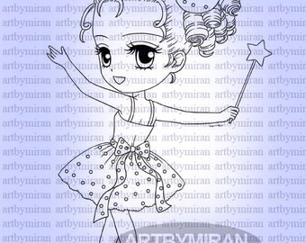Digital Stamp-Wishing Stella(Without wing), Digi Stamp, Coloring page, Printable Line art for Card and Craft Supply