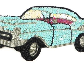 "Choice of Color 57 Chevy Car Applique Sequin Beaded, 10.5"" x 5""  JJBox1737-B178"