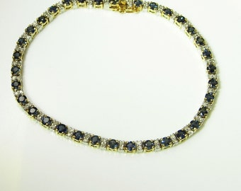 Blue Sapphire Bracelet Dainty Bracelet Diamond Bracelet Bridal Jewelry Vintage Tennis Bracelet Wedding Jewelry Natural Sapphire Jewelry