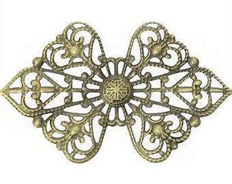 Bowknot Antique Bronze Pattern Alloy Embellishment - Pack of 6