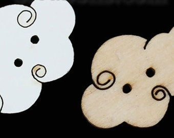 White Cloud Wood Sewing Button - 8 Pieces