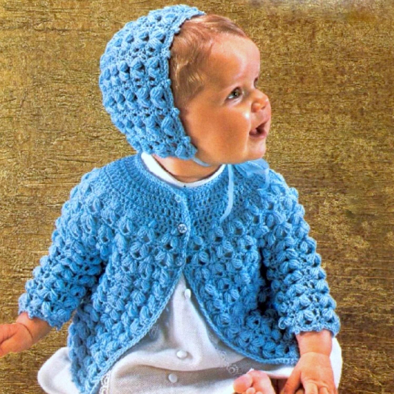 Vintage Crochet Baby Dress Pattern : Vintage Crochet Pattern Baby Matinee Coat and Bonnet Pram