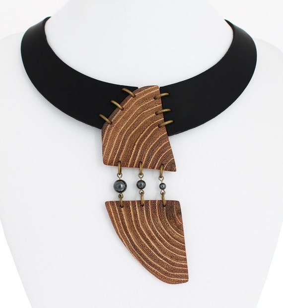 Contemporary necklace - wood statement necklace - abstract necklace - designer necklace
