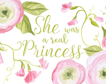 She Was a Real Princess, Princess and the Pea Clip Art, Sweet Pea clipart, floral clip art, ranunculus clipart, romantic floral, wedding art