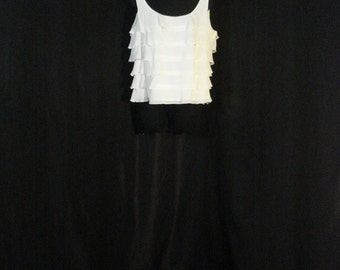 White Blouse Tiered Ruffles Lix Claiborne Chic Summer Top Silk & Cotton L XL