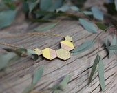 Long Yellow Hexi Necklace - hexagon rosewood necklace