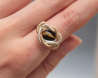 Tiger Eye Wire Wrap Ring Size 5 - Argentium Sterling Silver 14k Gold Filled - Engagement Ring Wedding Ring Fine Jewelry
