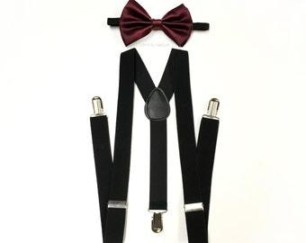 men's suspenders, black suspenders, burgundy bowtie, burgundy wedding, Men's suspenders and burgundy bowtie - burgundy dress tie suspenders