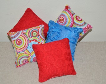 5 Pillows -- Red / Blue / Multi-color -- FREE SHIPPING - Doll Furniture - 18 inch doll accessories