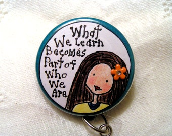 teacher id badge holder with your choice of charm,badge pull for teacher with inspirational quote,retractable badge pull