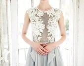 Gray wedding dress, blue gray dress with ivory lace appliques, lace and chiffon bridal gown, modern wedding dress // Iris