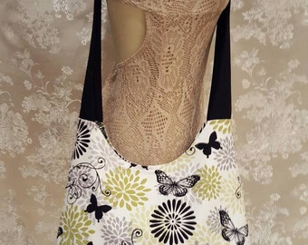 Cross Body Tote Bag - White with Black Butterflies and Green and Gray Flowers