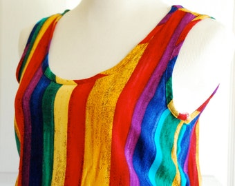 Rainbow Striped Tank Top by Marnie West