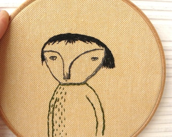 Hand embroidery. Man portrait. Hoop art. 5 inches.