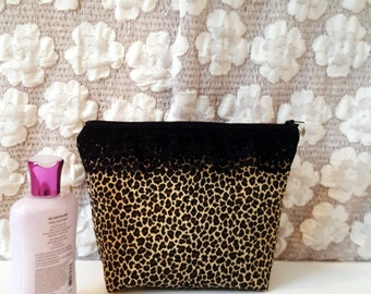 Leopard Black Ruffled / Large Makeup Pouch / Cosmetic Bag