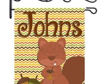 Custom Personalized Garden Sign Squirrel and Acorns