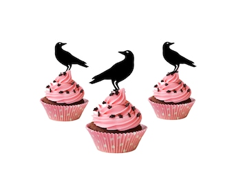 set of 6 Raven Halloween Cupcake Toppers, acrylic crow cupcake toppers, funny cake topper, party cake decoration