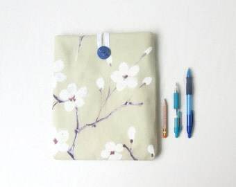 Blossom print IPad case, 10 inch tablet case, floral fabric tablet sleeve, Cherry blossom print, IPad or IPad Air cover, handmade in the UK