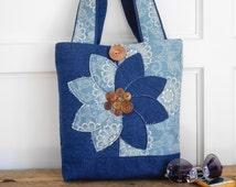 Denim Tote Bag, Navy Tote Bag, Blue Tote Bag, Denim Purse, Navy Purse, Denim Handbag, Fabric Bag, Handmade Tote, Denim Shuoulder Bag, Tote