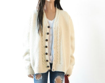 Wool Hand Knit Cable Knit  Cardigan Sweater vintage Cream Medium/large/jacket one size