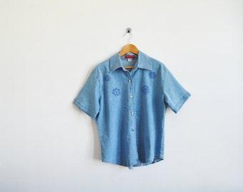 vintage denim embroidered shirt. Womens vintage embroidered denim button down shirt. Ladies vintage denim shirt.
