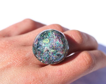 Holographic Ring Bold Colorful Space Galaxy Glitter Ring Unique OOAK Half Sphere Dome Ring Statement Jewelry