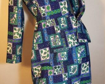 FREE  SHIPPING     Vintage 1960 Mod Paisley Print Dress