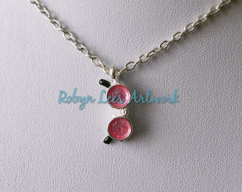 Small Rose Tinted Glasses of Love Necklace on Silver Crossed Chain, Lover