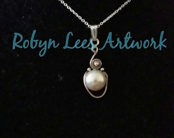 Sterling Silver 925 & Freshwater Pearl Necklace on Fine 925 Sterling Silver Chain
