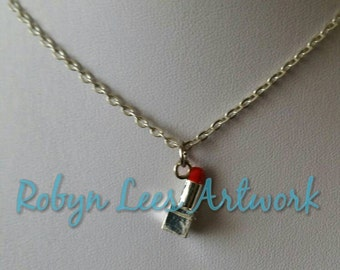 Tiny Silver Red Lipstick Charm Necklace on Silver Crossed Chain or Black Faux Suede Cord, Make Up