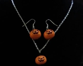 Halloween Pumpkin Jack O Lantern Bell Necklace and Earring Set or Just Necklace on Silver Chain