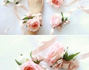 Blush Pink Rose Wrist Corsage, Bridesmaid corsage, pearl corsage, blush corsage, blush pink flower corsage, wedding blush boutonnieres