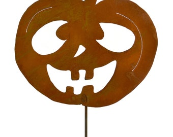 Goofy Jack-o-Lantern Metal Yard Stake, Halloween Yard Art GS91