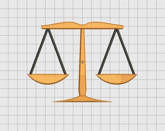 Scales of Justice Embroidery Design in 2x2 3x3 4x4 5x5 and 6x6 Sizes