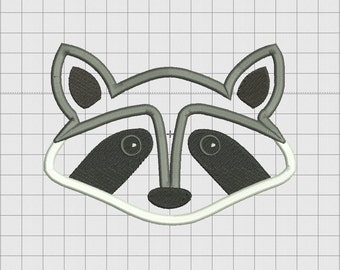 Raccoon Face Applique Embroidery Design in 3x3 4x4 5x5 and 6x6 Sizes