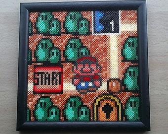 Super Mario Bros. 3 World map Framed bead sprite picture. Nintendo! Retro!!