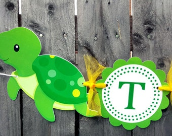 Turtle Banner - Turtle Birthday Banner - Turtle Baby Shower Banner