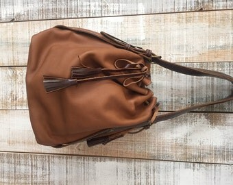 Soft leather bucket bag, Brown leather bag, Leather bucket purse, Everyday bag