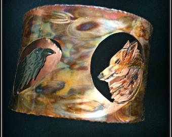 crow bracelet, crow jewelry, raven bracelet, raven jewelry, wolf bracelet, wolf jewelry, flame painted, copper bangle, copper cuff, BC art