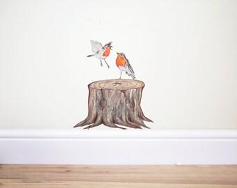 Robin bird wall decals,bird sticker, bird decal,robin sticker,birds decor robin,bird branches tree,red bird,forest bird, christmas decal