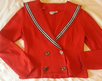 1980's Sailor Sweater Cherry Red with Black and White Trim