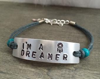 I'm A Dreamer bracelet - dreamcatcher bracelet native bracelet boho bracelet bohemian bracelet tribal bracelet hippie bracelet