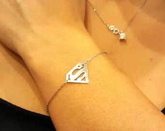 14k Gold Superman Bracelet, Letter S Bracelet, Custom Bracelet Letter Bracelet, Choose your letter bracelet, silver or gold option