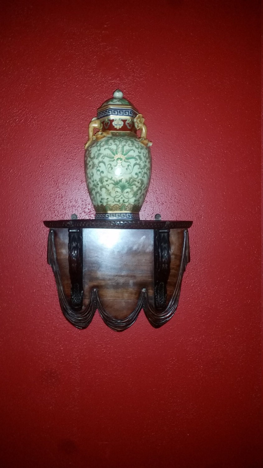 Wall Sconces With Shelf : Ornately Carved Mid Century Wooden Wall Sconce Shelf